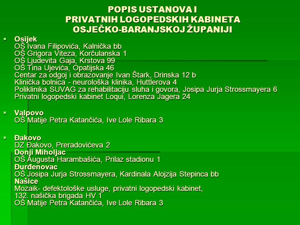 POPIS USTANOVA I PRIVATNIH LOGOPEDSKIH KABINETA OSJEČKO-BARANJSKOJ ŽUPANIJI  Osijek OŠ Ivana Filipovića, Kalnička bb OŠ Grigora Viteza, Korčulanska 1