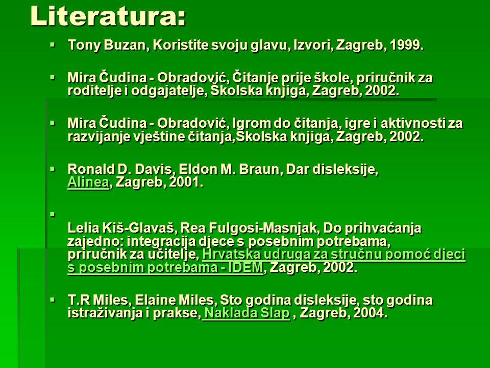 Literatura:  Tony Buzan, Koristite svoju glavu, Izvori, Zagreb, 1999.  Mira Čudina - Obradović, Čitanje prije škole, priručnik za roditelje i odgaja