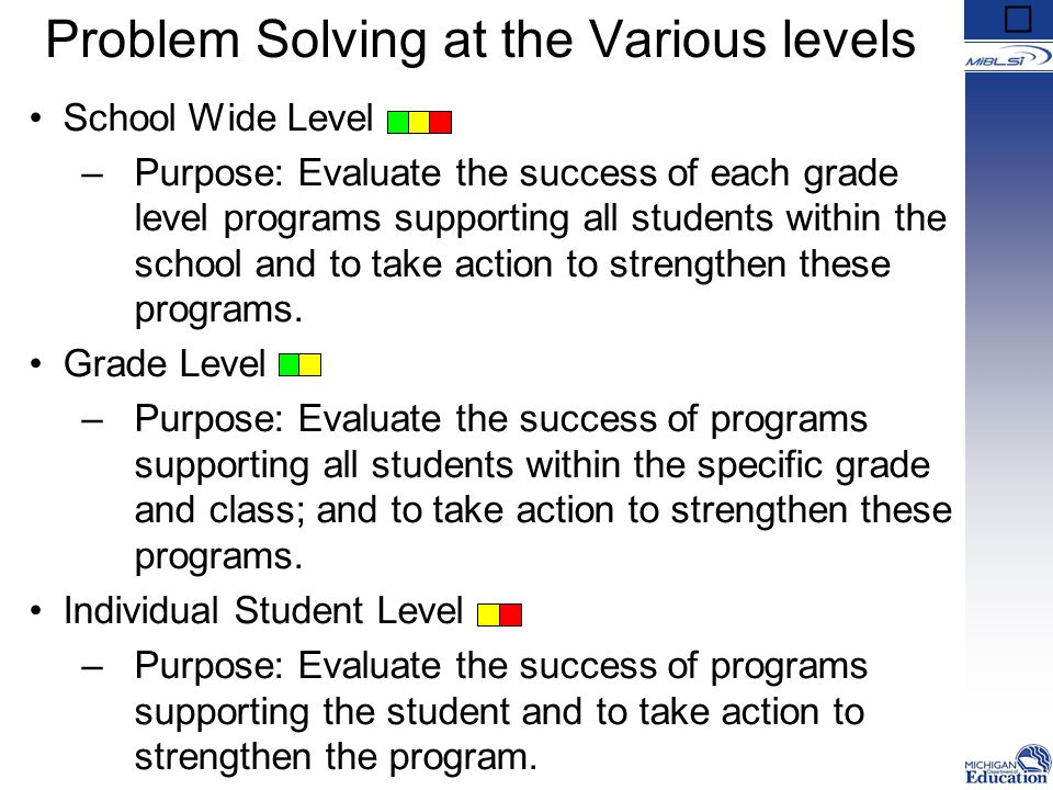 Problem Solving at the Various levels School Wide Level –Purpose: Evaluate the success of each grade level programs supporting all students within the school and to take action to strengthen these programs.