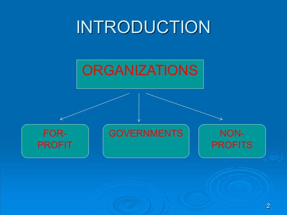 INTRODUCTION ORGANIZATIONS FOR- PROFIT GOVERNMENTSNON- PROFITS 2