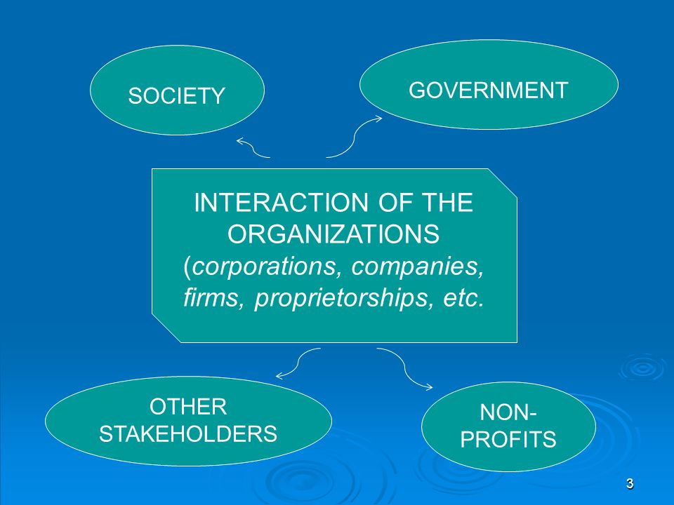 INTERACTION OF THE ORGANIZATIONS (corporations, companies, firms, proprietorships, etc. SOCIETY GOVERNMENT NON- PROFITS OTHER STAKEHOLDERS 3