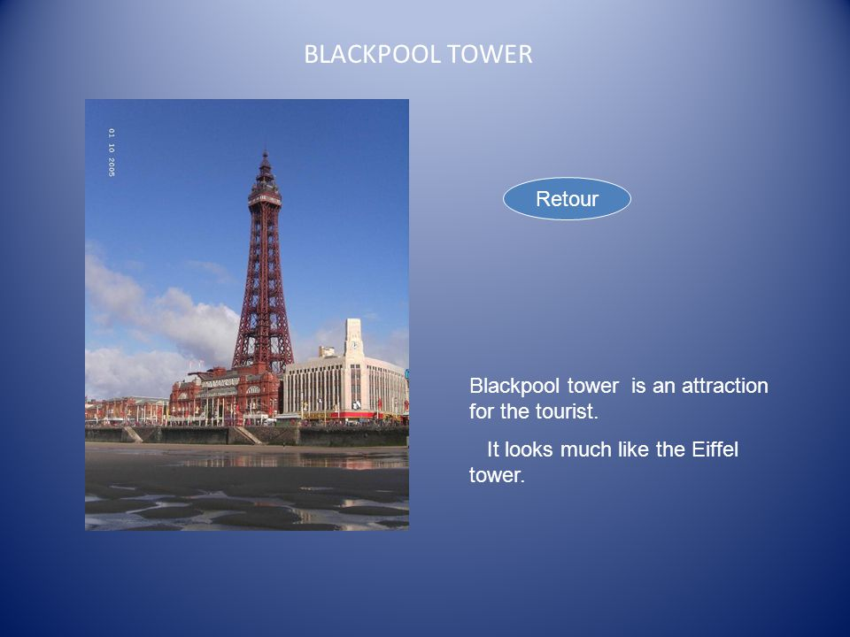 BLACKPOOL TOWER Blackpool tower is an attraction for the tourist.