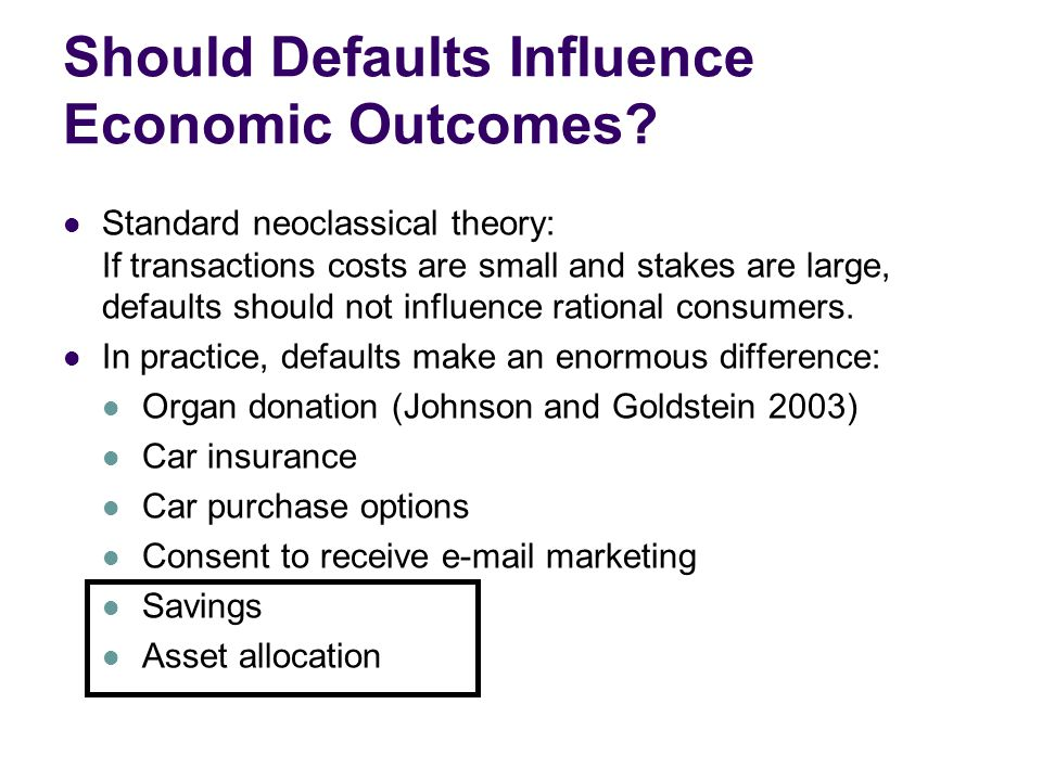 Should Defaults Influence Economic Outcomes.