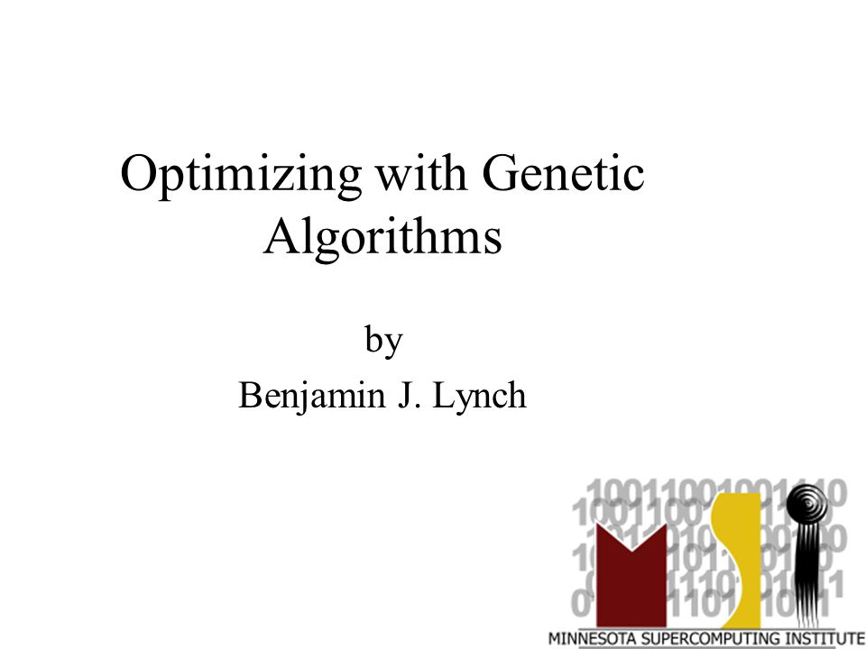 Optimizing with Genetic Algorithms by Benjamin J. Lynch
