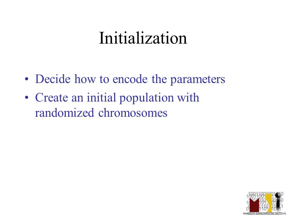 11 Initialization Decide how to encode the parameters Create an initial population with randomized chromosomes