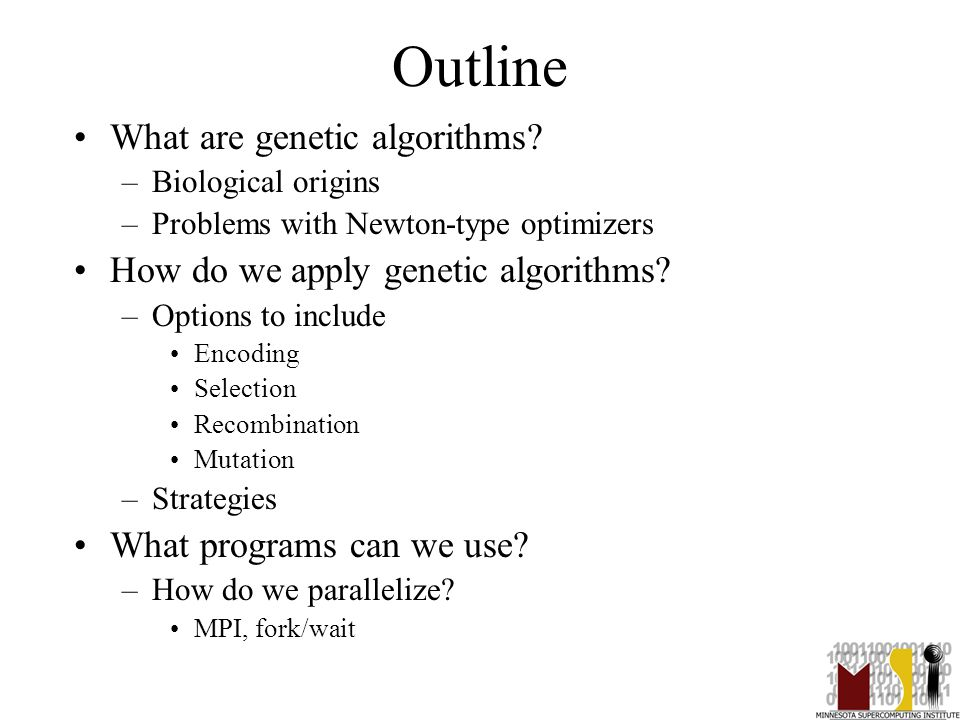 2 Outline What are genetic algorithms? –Biological origins –Problems with Newton-type optimizers How do we apply genetic algorithms? –Options to inclu