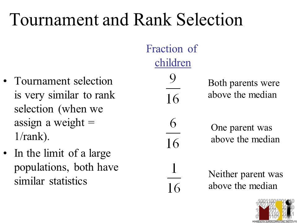 25 Tournament and Rank Selection Tournament selection is very similar to rank selection (when we assign a weight = 1/rank).