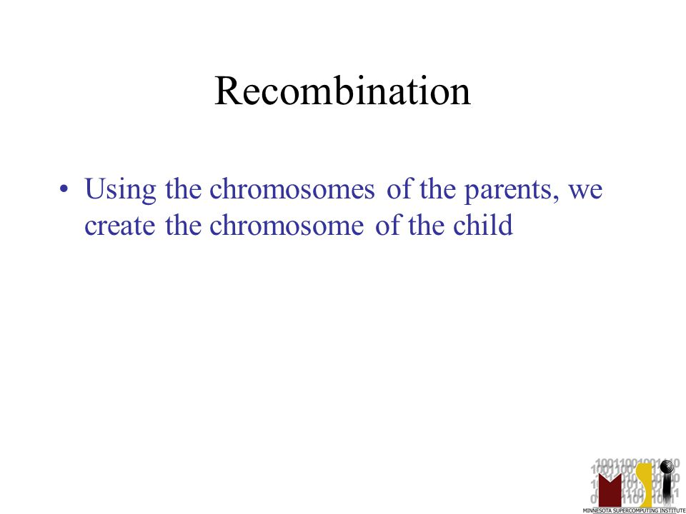 26 Recombination Using the chromosomes of the parents, we create the chromosome of the child