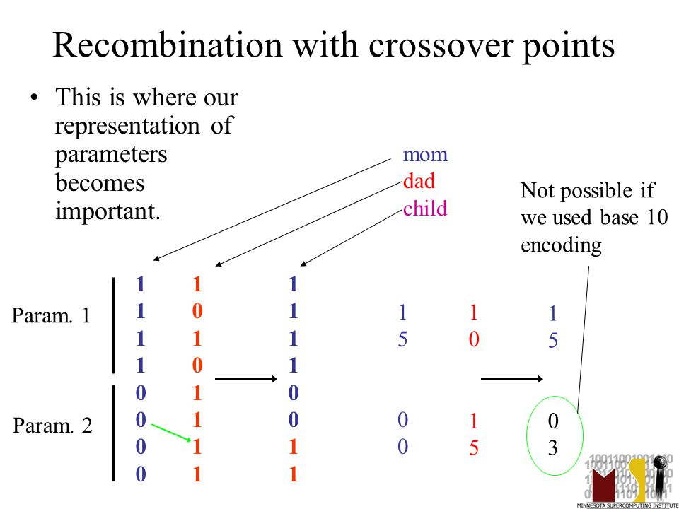 29 Recombination with crossover points This is where our representation of parameters becomes important.