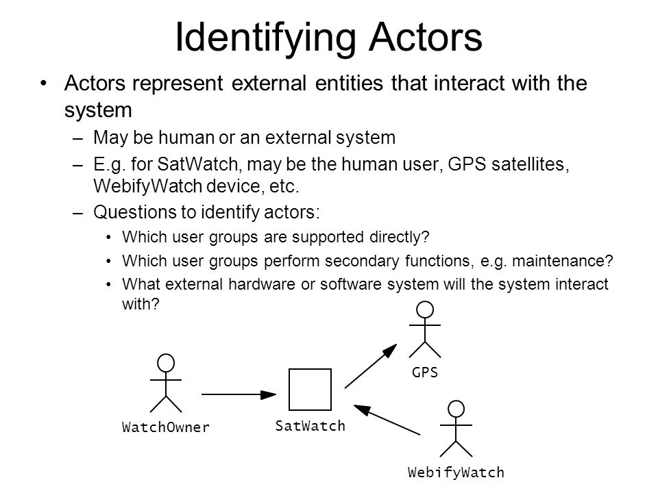 Identifying Actors Actors represent external entities that interact with the system –May be human or an external system –E.g. for SatWatch, may be the