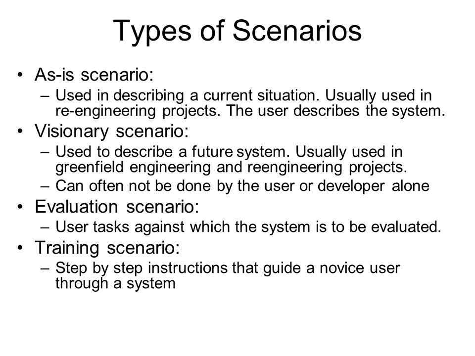 Types of Scenarios As-is scenario: –Used in describing a current situation.