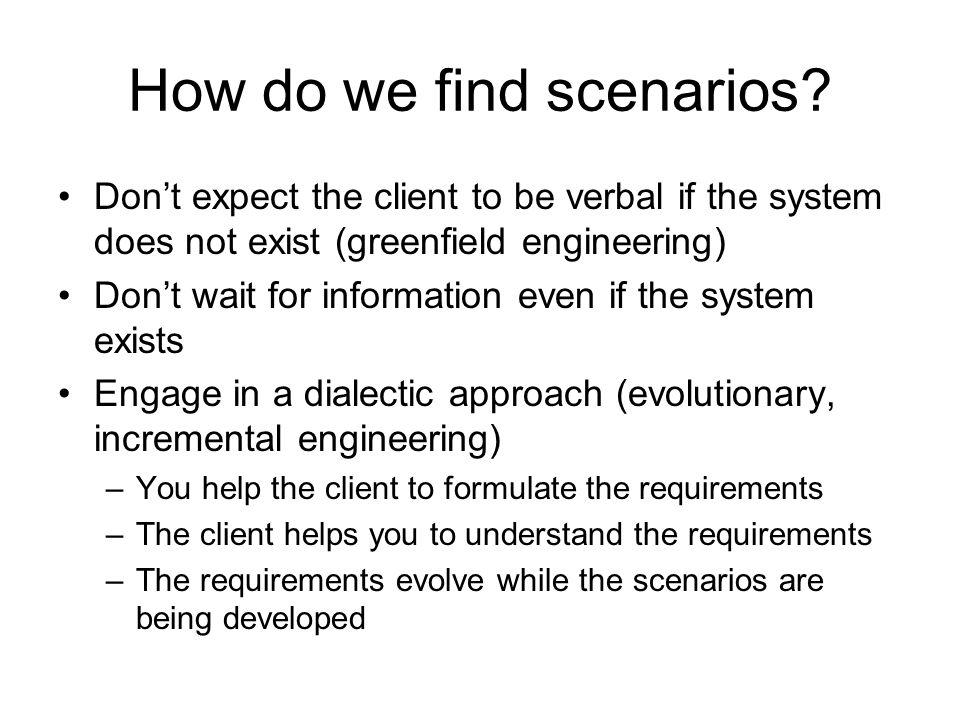 How do we find scenarios.