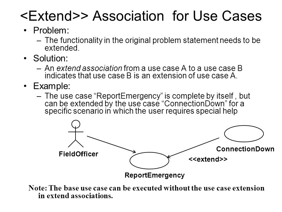 > Association for Use Cases Problem: –The functionality in the original problem statement needs to be extended.