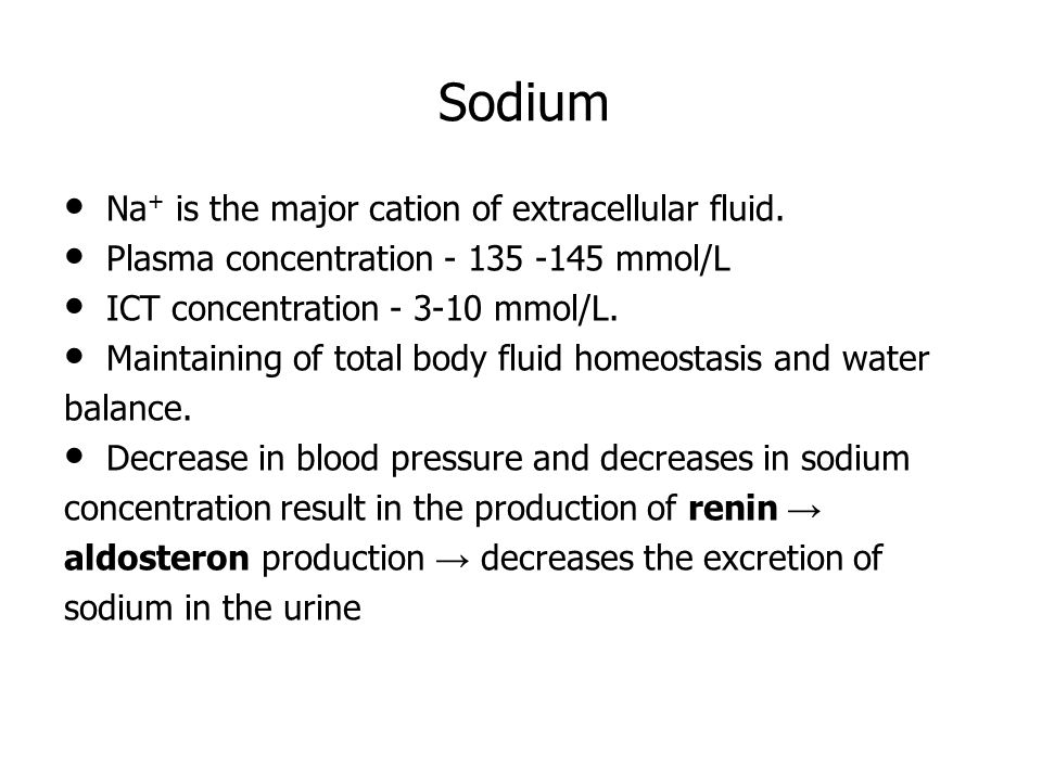 Sodium Hypernatremia is associated with water depletion (dehydratation).