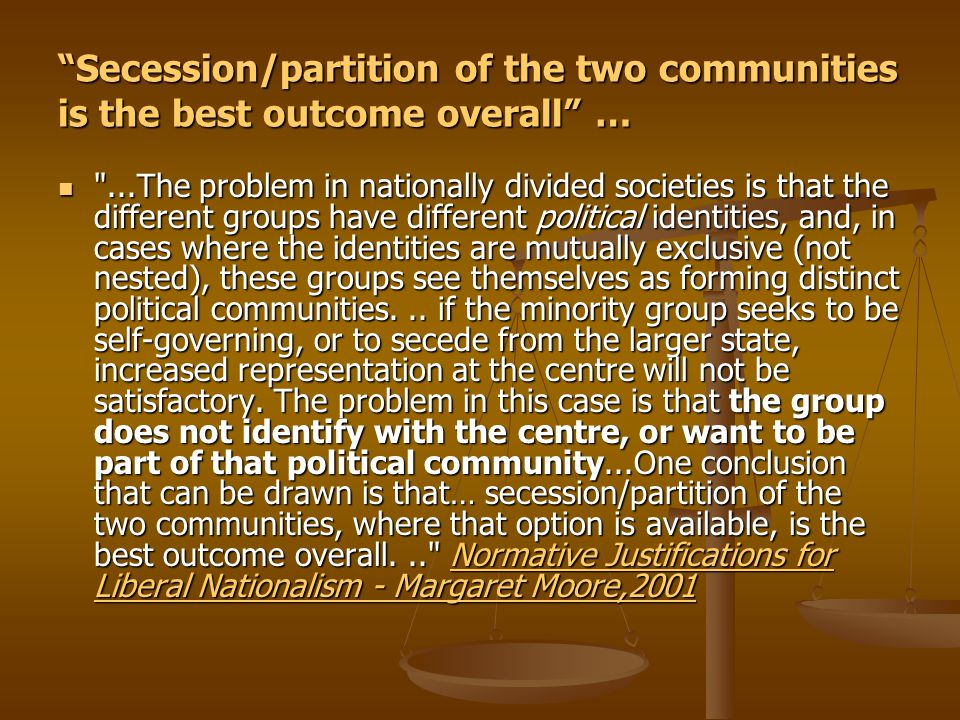 """""""Secession/partition of the two communities is the best outcome overall"""" …"""