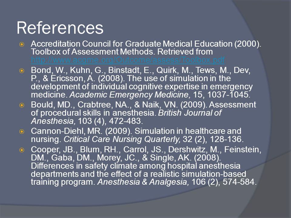 References  Accreditation Council for Graduate Medical Education (2000).