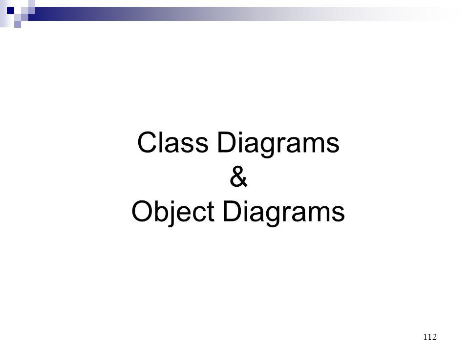 112 Class Diagrams & Object Diagrams
