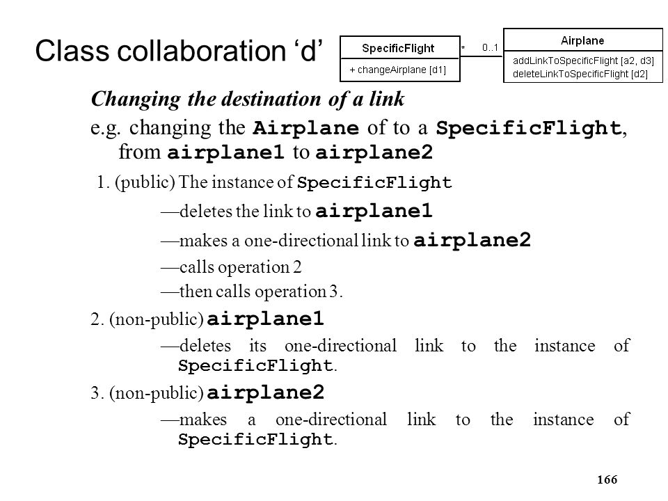 166 Class collaboration 'd' Changing the destination of a link e.g. changing the Airplane of to a SpecificFlight, from airplane1 to airplane2 1. (publ