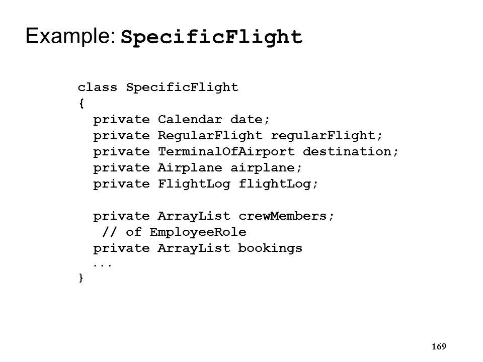 169 Example: SpecificFlight class SpecificFlight { private Calendar date; private RegularFlight regularFlight; private TerminalOfAirport destination;