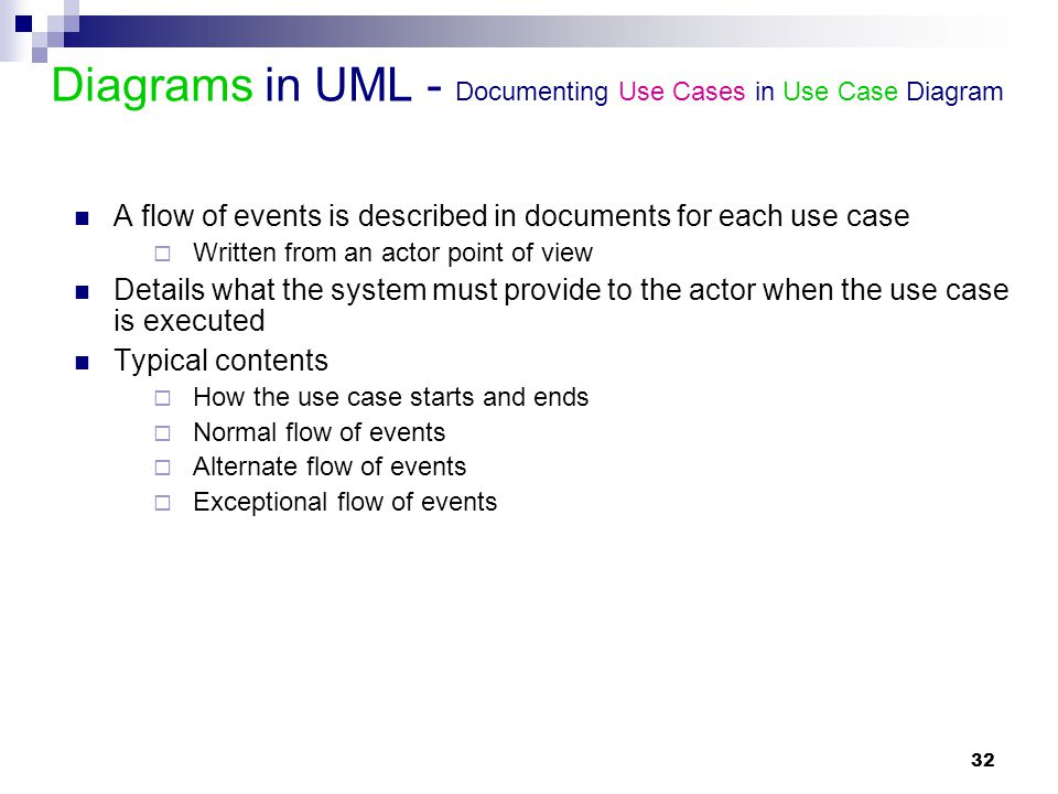 32 Diagrams in UML - Documenting Use Cases in Use Case Diagram A flow of events is described in documents for each use case  Written from an actor po