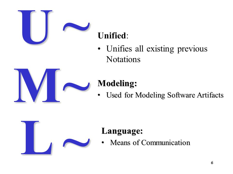 7 UML is a language for: Visualizing: Graphical models with precise semantics Specifying: Models are precise, unambiguous and complete to capture all important Analysis, Design, and Implementation decisions.