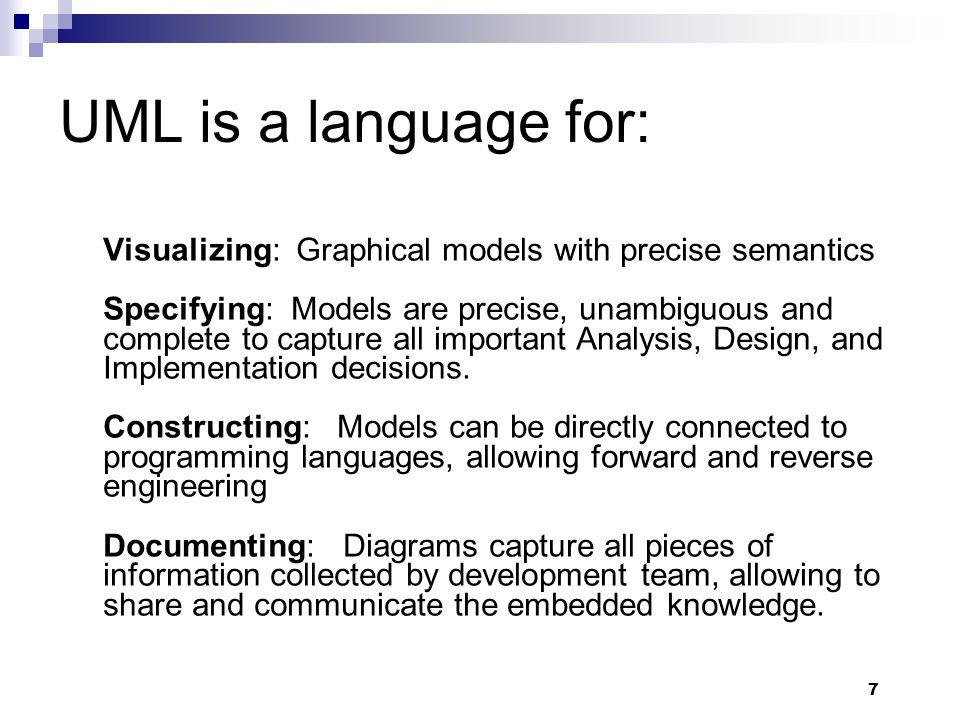 28 Diagrams in UML – University Registration System as a Running Example The SMU wants to computerize its registration system  The Registrar sets up the curriculum for a semester One course may have multiple course offerings  Students select four (4) primary courses and two (2) alternate courses  Once a student registers for a semester, the billing system is notified so the student may be billed for the semester  Students may use the system to add/drop courses for a period of time after registration  Professors use the system to set their preferred course offerings and receive their course offering rosters after students register  Users of the registration system are assigned passwords which are used at logon validation