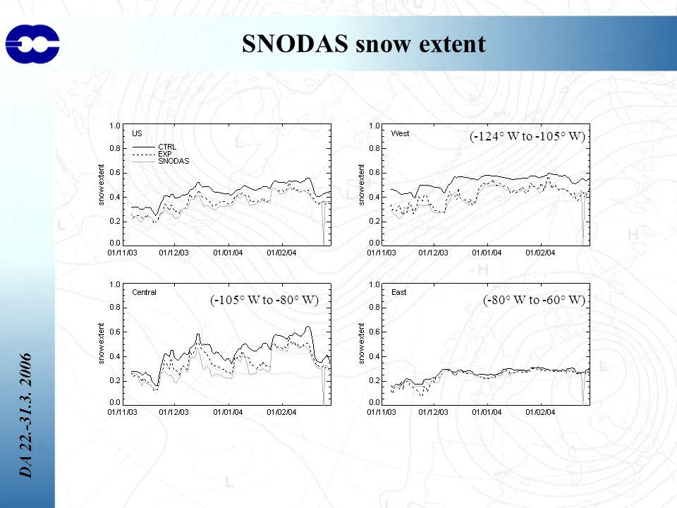 DA 22.-31.3. 2006 SNODAS snow extent (-124° W to -105° W) (-80° W to -60° W)(-105° W to -80° W)