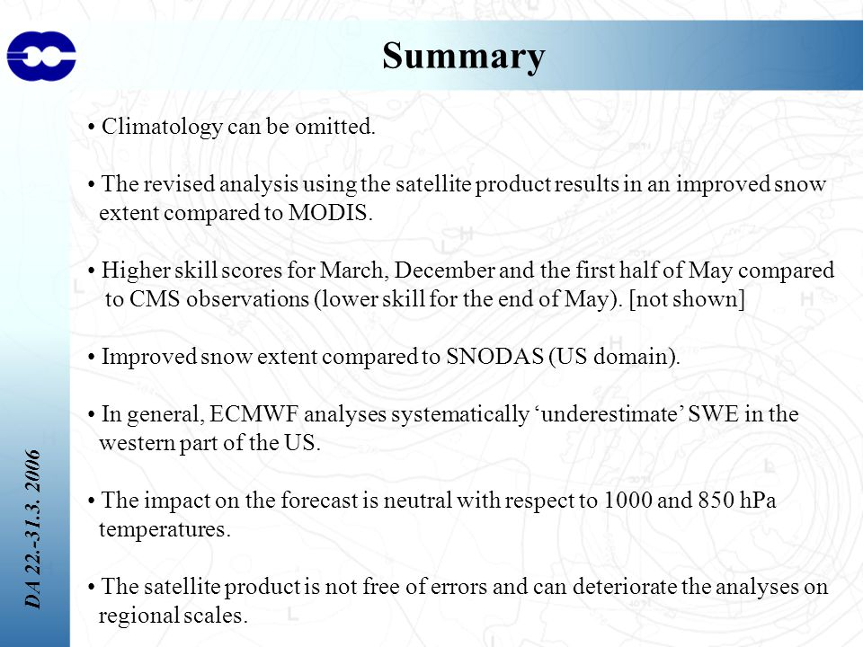DA 22.-31.3. 2006 Summary Climatology can be omitted.
