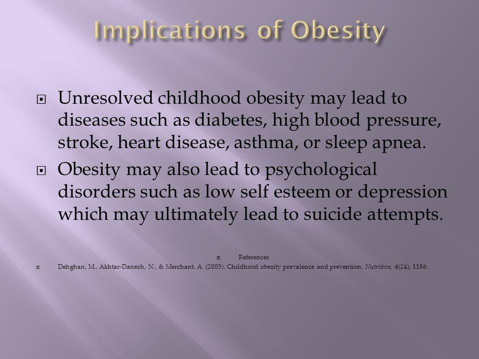  Unresolved childhood obesity may lead to diseases such as diabetes, high blood pressure, stroke, heart disease, asthma, or sleep apnea.