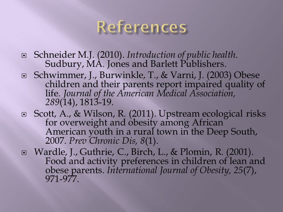  Schneider M.J. (2010). Introduction of public health.