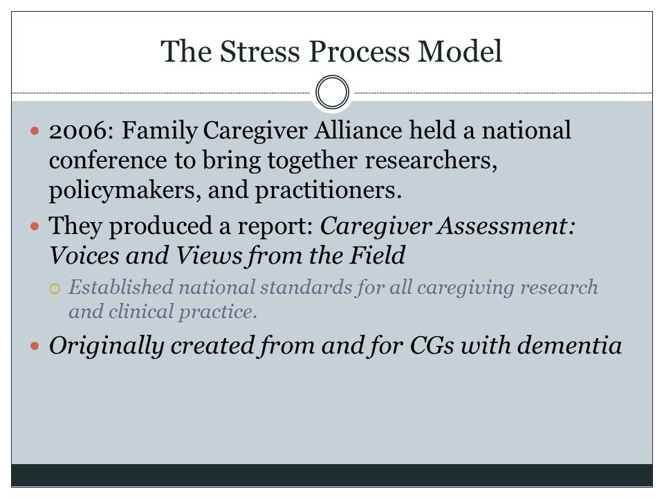 The Stress Process Model 2006: Family Caregiver Alliance held a national conference to bring together researchers, policymakers, and practitioners. Th