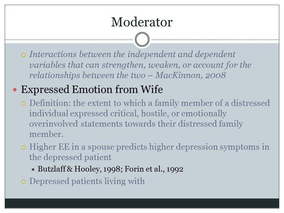Moderator  Interactions between the independent and dependent variables that can strengthen, weaken, or account for the relationships between the two