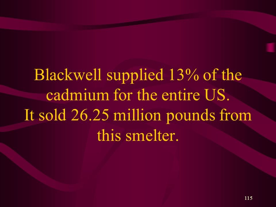 115 Blackwell supplied 13% of the cadmium for the entire US.