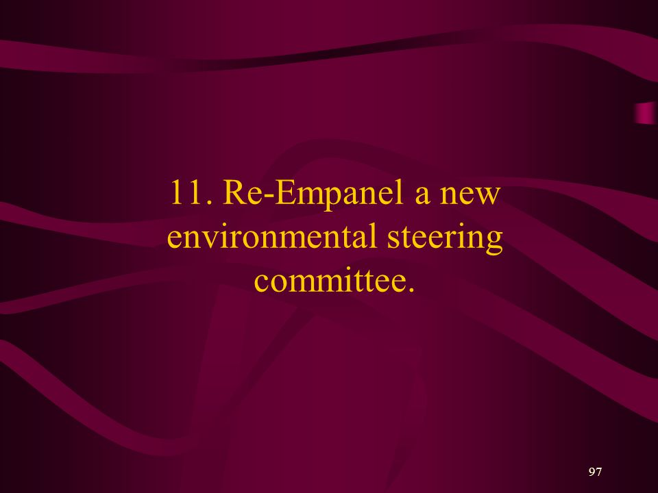 97 11. Re-Empanel a new environmental steering committee.