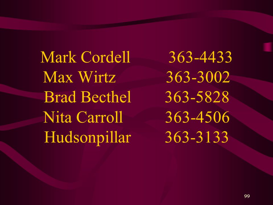 99 Mark Cordell 363-4433 Max Wirtz 363-3002 Brad Becthel 363-5828 Nita Carroll 363-4506 Hudsonpillar 363-3133