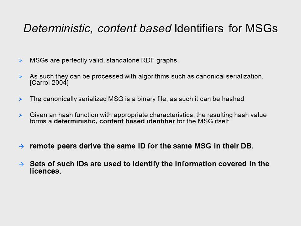 Deterministic, content based Identifiers for MSGs   MSGs are perfectly valid, standalone RDF graphs.   As such they can be processed with algorith
