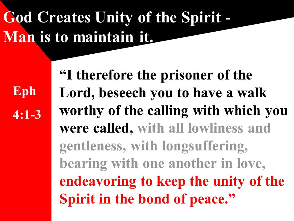 God Creates Unity of the Spirit - Man is to maintain it.