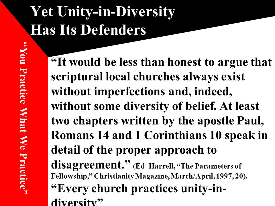 Yet Unity-in-Diversity Has Its Defenders It would be less than honest to argue that scriptural local churches always exist without imperfections and, indeed, without some diversity of belief.