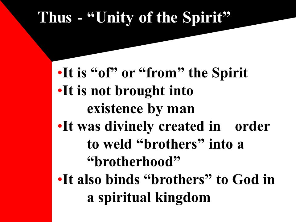 Unity of the Spirit is controlled by God As the sea: When I fixed My limit for it, and set bars and doors; When I said, 'This far you may come and no farther, And here your proud waves must stop'! Job 38: 10-11 Man cannot change parameters To limit unity when God extends To extend unity when God denies