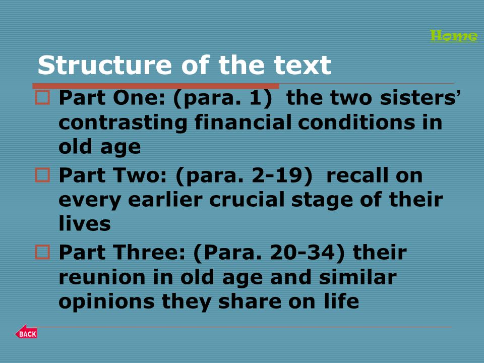 Structure of the text  Part One: (para.