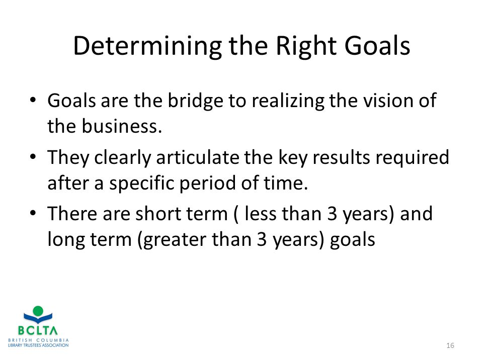 Determining the Right Goals Goals are the bridge to realizing the vision of the business.