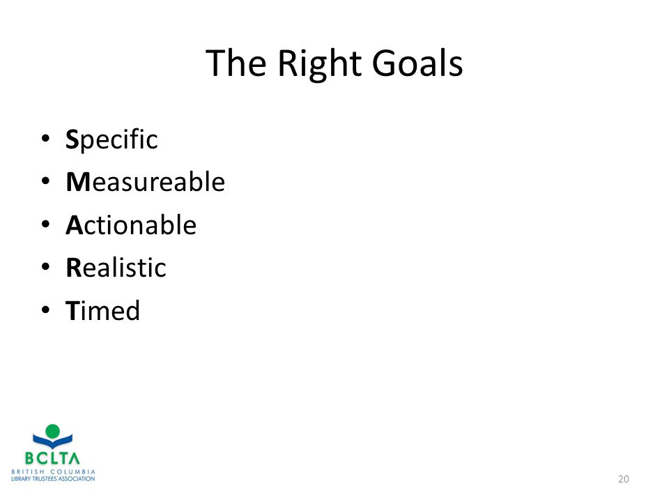 The Right Goals Specific Measureable Actionable Realistic Timed 20