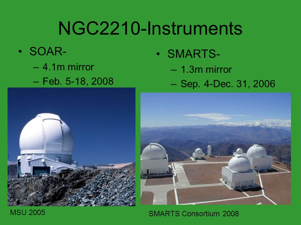 NGC2210-Instruments SOAR- –4.1m mirror –Feb. 5-18, 2008 SMARTS- –1.3m mirror –Sep. 4-Dec. 31, 2006 MSU 2005 SMARTS Consortium 2008