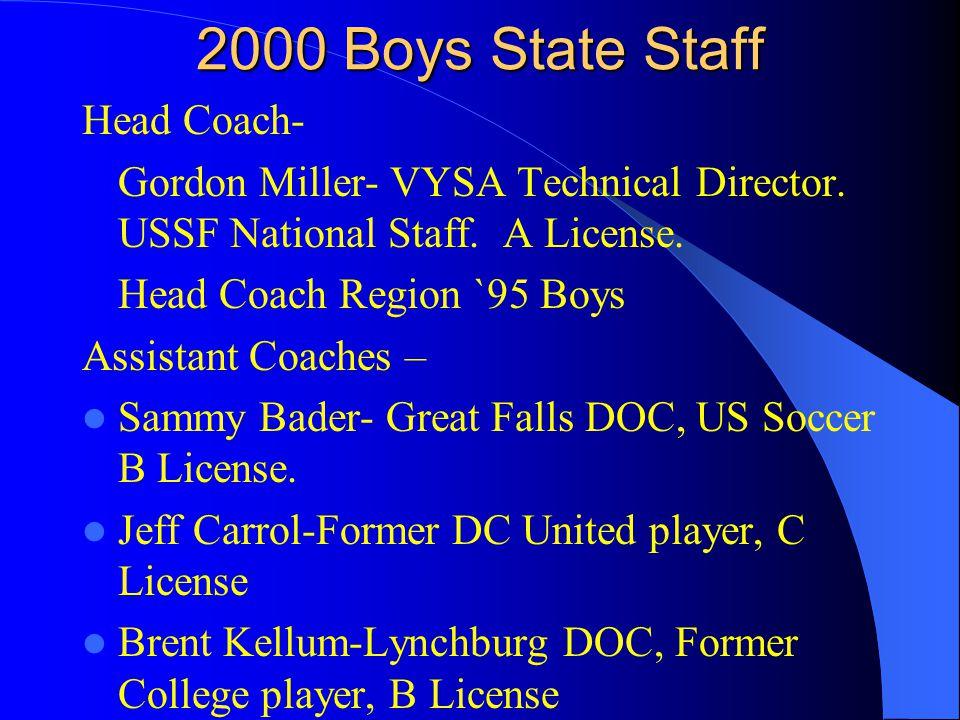 2000 Boys State Staff Head Coach- Gordon Miller- VYSA Technical Director.