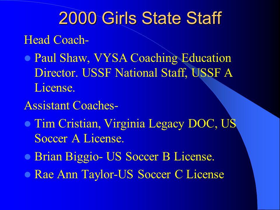 2000 Girls State Staff Head Coach- Paul Shaw, VYSA Coaching Education Director.