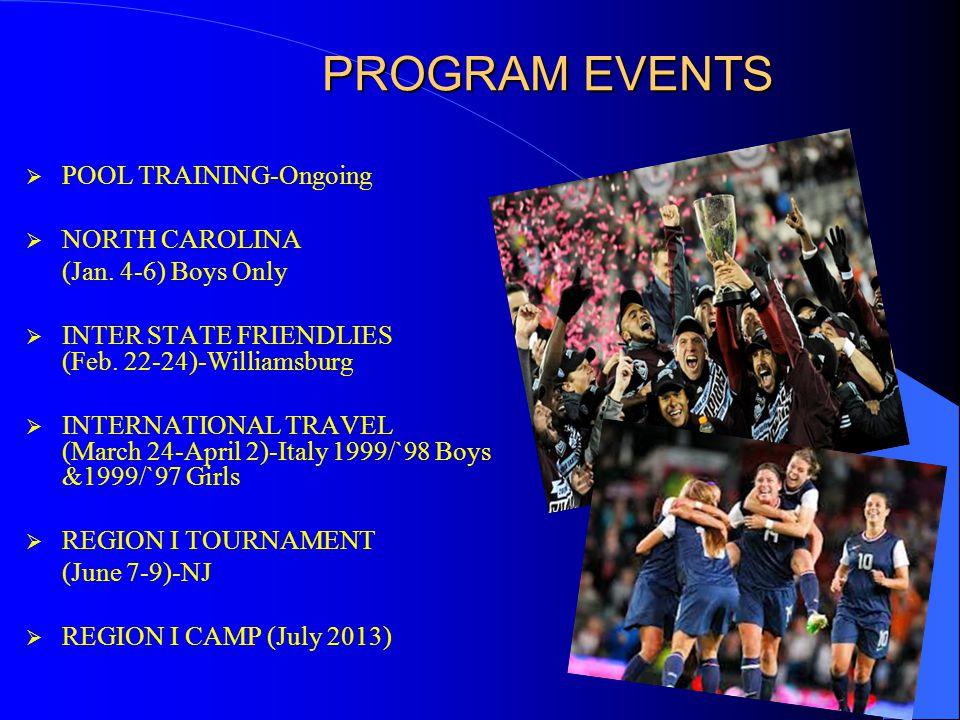 PROGRAM EVENTS  POOL TRAINING-Ongoing  NORTH CAROLINA (Jan.