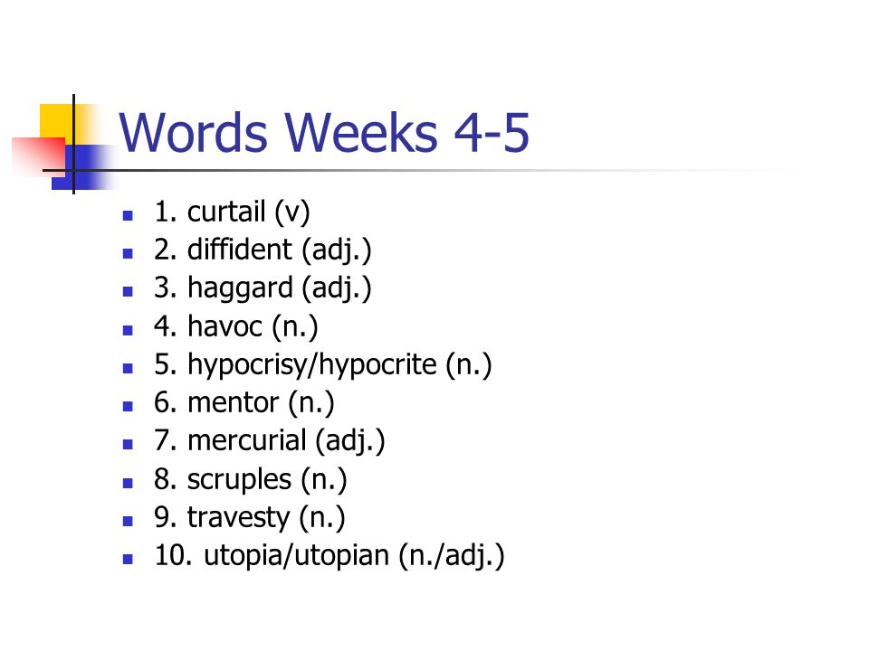 Words Weeks 4-5 1. curtail (v) 2. diffident (adj.) 3.