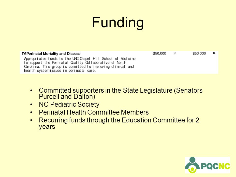Funding Committed supporters in the State Legislature (Senators Purcell and Dalton) NC Pediatric Society Perinatal Health Committee Members Recurring funds through the Education Committee for 2 years
