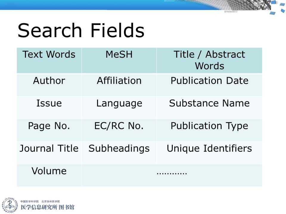 Search Fields Text WordsMeSH Title / Abstract Words AuthorAffiliationPublication Date IssueLanguageSubstance Name Page No.EC/RC No.Publication Type Journal TitleSubheadingsUnique Identifiers Volume…………