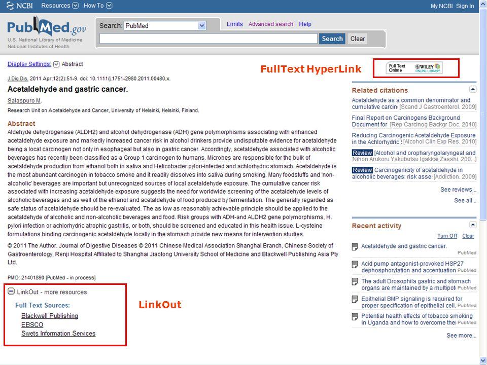 FullText HyperLink LinkOut